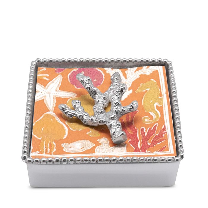 Mariposa - Coral Beaded Napkin Box