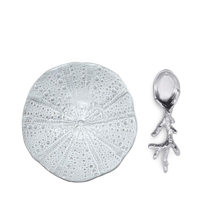 Mariposa - Sea Urchin Ceramic Canape Plate & Coral Spoon