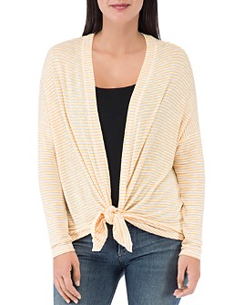 B Collection by Bobeau - Cecile Striped Tie-Front Cardigan