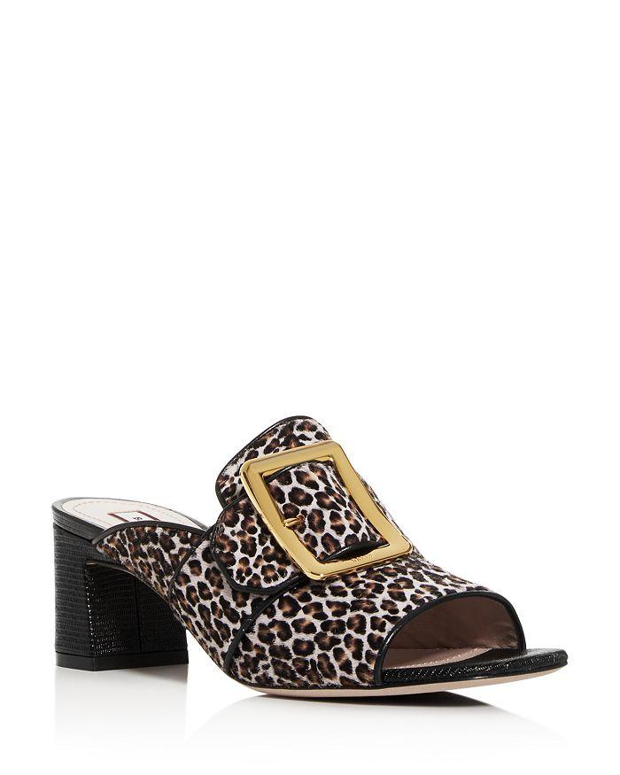 Bally - Women's Janaya Leopard Calf Hair Block-Heel Slide Sandals