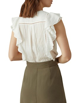KAREN MILLEN - Ruffled Striped Blouse