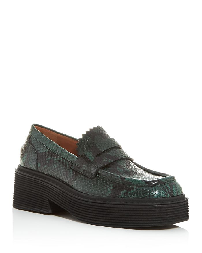 Marni - Women's Moc-Toe Snake-Embossed Platform Penny Loafers