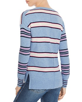 AQUA - Mixed-Stripe High/Low Cashmere Sweater - 100% Exclusive
