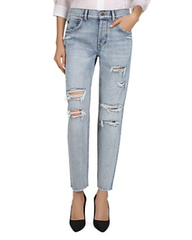 The Kooples - Mid-Rise Cropped Tapered-Leg Jeans in Blue Washed