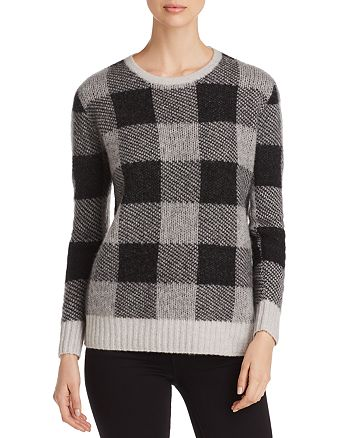 C by Bloomingdale's - Brushed Plaid Cashmere Sweater - 100% Exclusive
