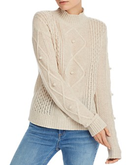 AQUA - Popcorn Aran-Knit Cashmere Sweater - 100% Exclusive