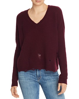 AQUA - Distressed V-Neck Cashmere Sweater - 100% Exclusive