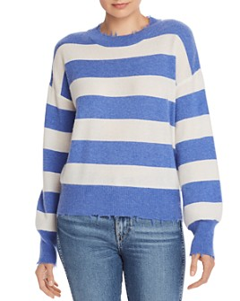 AQUA - Distressed Striped Cashmere Sweater - 100% Exclusive