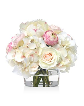 Diane James Home - Pink & White Bouquet Bouquet in Glass Cube