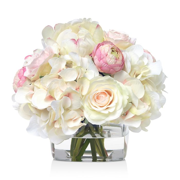 Diane James Home - Rose & Hydrangea Faux Floral Arrangement in Glass Cube