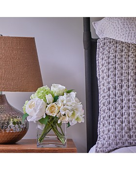 Diane James Home - Blooms Rose & Hydrangea Faux Floral Arrangement in Glass Cube