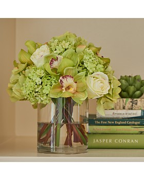 Diane James Home - Hydrangea & Orchid Bouquet in Glass Cylinder