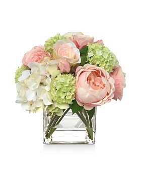 Diane James Home - Blooms Pink Hydrangea & Rose Bouquet in Glass Cube