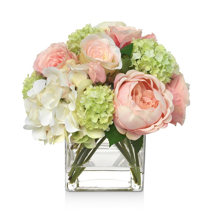 Diane James Home - Blooms Pink Hydrangea & Rose Faux Floral Arrangement in Glass Cube