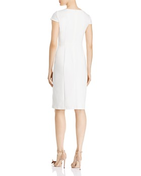 Adrianna Papell - V-Neck Faux-Wrap Sheath Dress