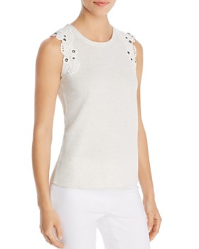 NIC and ZOE - Lace-Shoulder Knit Tank