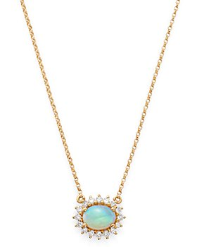 "Bloomingdale's - Opal and Diamond East-West Pendant Necklace in 14K Yellow Gold, 18"" - 100% Exclusive"
