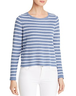Eileen Fisher - Striped Cropped Ribbed Sweater