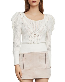 00a3890826a BCBGMAXAZRIA - Puff-Sleeve Pointelle Sweater ...