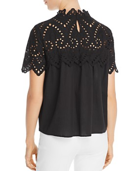 Vero Moda - Vay Scalloped Eyelet Lace-Detail Top