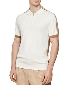 REISS - Gerry Intarsia Stripe Half-Zip Regular Fit Polo Shirt