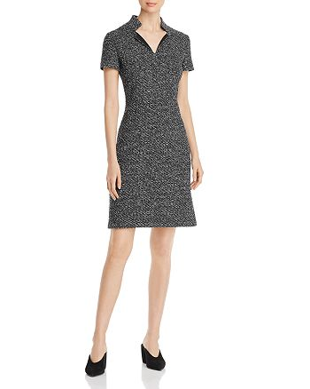 St. John - Short-Sleeve Mélange Tweed Dress