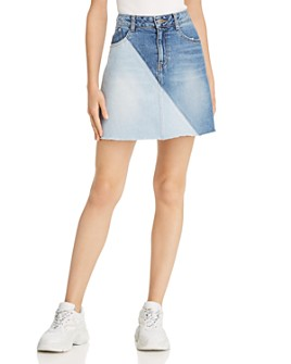 SJYP - Two-Tone Denim Mini Skirt