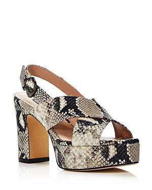 Stuart Weitzman Women's Jerry Block High-Heel Platform Sandals In Roccia Embossed Leather
