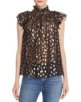 Rebecca Taylor - Sleeveless Leopard-Print Metallic Top