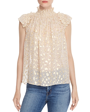 Rebecca Taylor Tops SLEEVELESS LEOPARD-PRINT METALLIC TOP