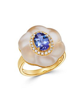 Bloomingdale's - Tanzanite, Rock Crystal & Diamond Ring in 18K Yellow Gold - 100% Exclusive