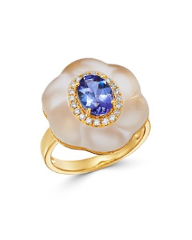 Bloomingdale's - Tanzanite, Rock Crystal & Diamond Ring in 18K Yellow Gold - 100% Exclusive