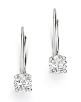 Bloomingdale's - Diamond Solitaire Leverback Earrings in 14K White Gold - 100% Exclusive