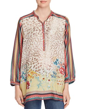 Johnny Was - Mixed-Print Silk Tunic Top
