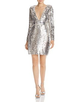 Aidan by Aidan Mattox - Long Sleeve Sequin Mini Dress