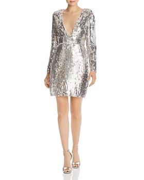 Aidan by Aidan Mattox - Long Sleeve Sequin Mini Dress