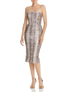 Dress the Population - Strapless Sequin Snake-Print Midi Dress