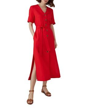 KAREN MILLEN -  Button-Front Midi Dress