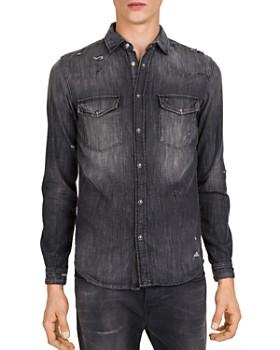The Kooples - Black Destroyed Denim Regular Fit Shirt