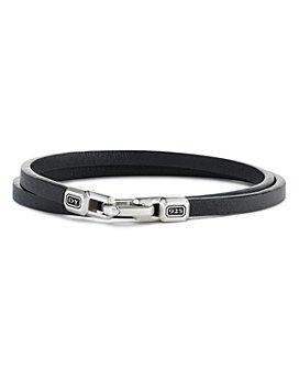 David Yurman - Sterling Silver Streamline® Double-Wrap Leather Bracelet