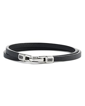 David Yurman - Sterling Silver Streamline® Double-Wrap Leather Bracelet