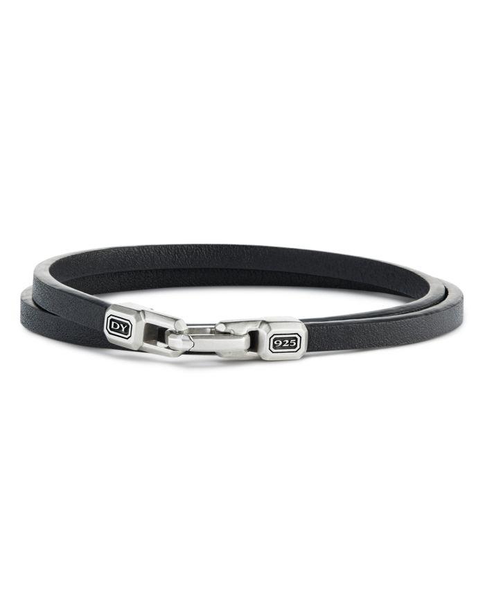 David Yurman Sterling Silver Streamline® Double-Wrap Leather Bracelet  | Bloomingdale's