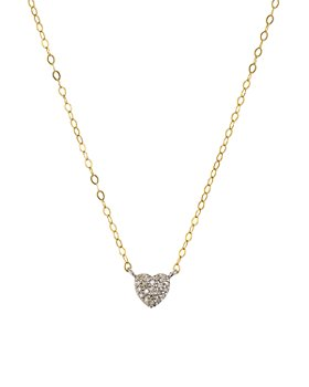 """Bloomingdale's - Diamond Heart Pendant Necklace in Gold-Plated Sterling Silver, 15"""" - 100% Exclusive"""