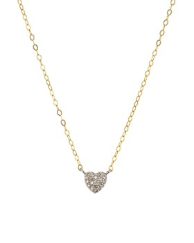 "Bloomingdale's - Diamond Heart Pendant Necklace in Gold-Plated Sterling Silver, 15"" - 100% Exclusive"