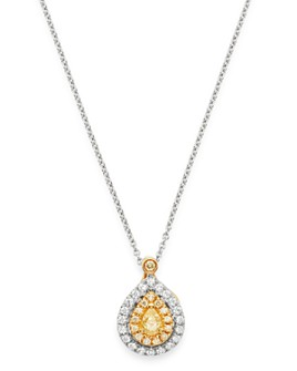 """Bloomingdale's - Pear-Shaped Yellow & White Diamond Necklace in 18K Yellow & White Gold, 16"""" - 100% Exclusive"""