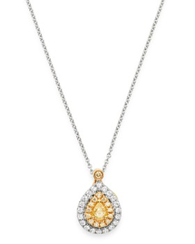 "Bloomingdale's - Pear-Shaped Yellow & White Diamond Necklace in 18K Yellow & White Gold, 16"" - 100% Exclusive"