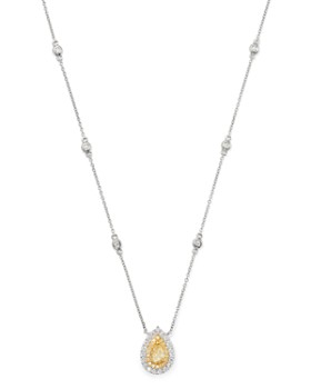Bloomingdale's - Pear-Shaped Yellow & White Diamond Necklace in 18K Yellow & White Gold - 100% Exclusive