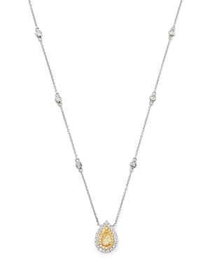 Bloomingdale's Pear-Shaped Yellow & White Diamond Necklace in 18K Yellow & White Gold - 100% Exclusi