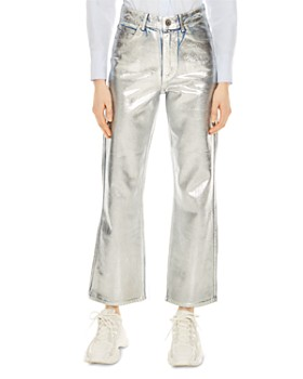 Sandro - Roland High-Rise Flared Painted Jeans in Silver
