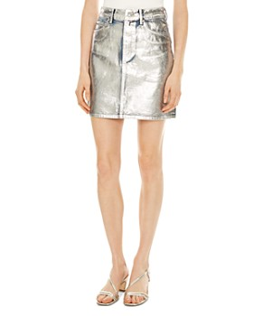 Sandro - Kennah Metallic Painted Denim Skirt